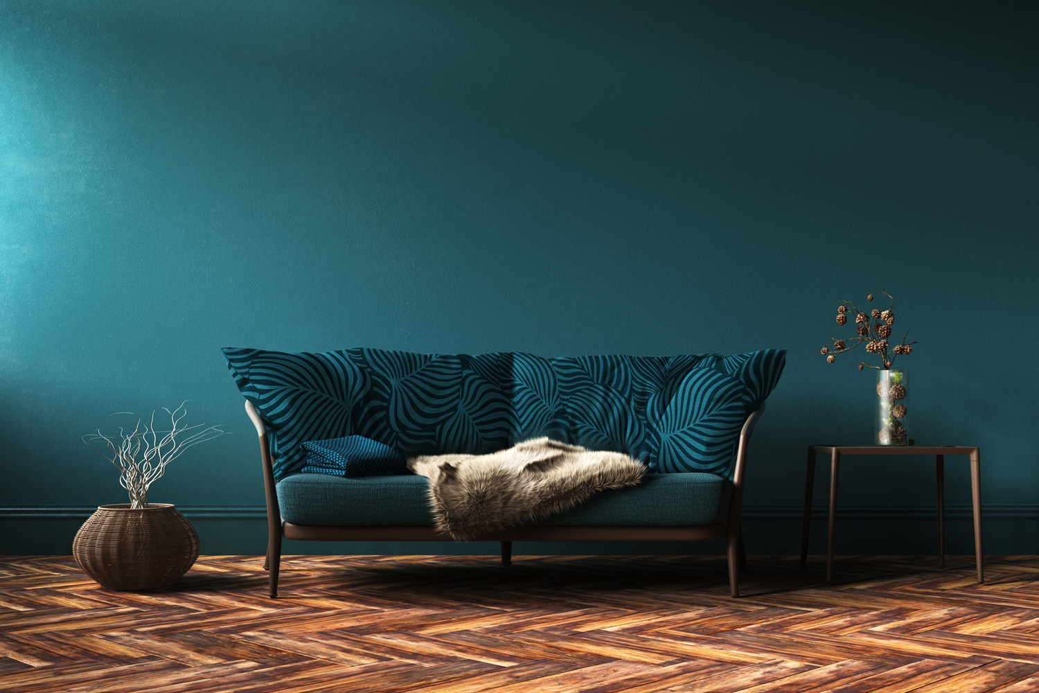 Green Teal Couch in Green Teal Room with Palm Print by Mereton Textiles